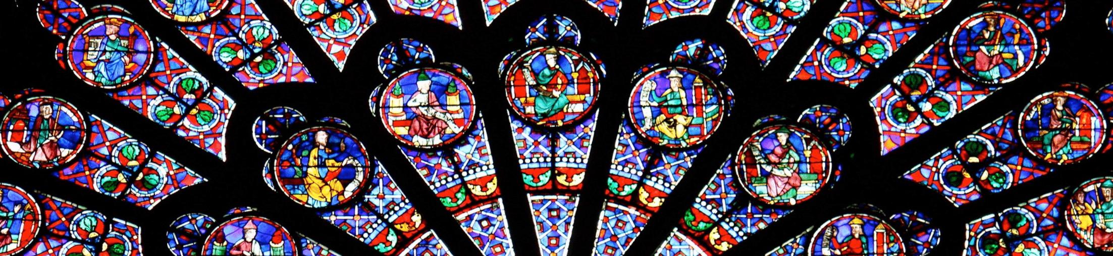 Fenêtre vitrail rosace sud notre dame